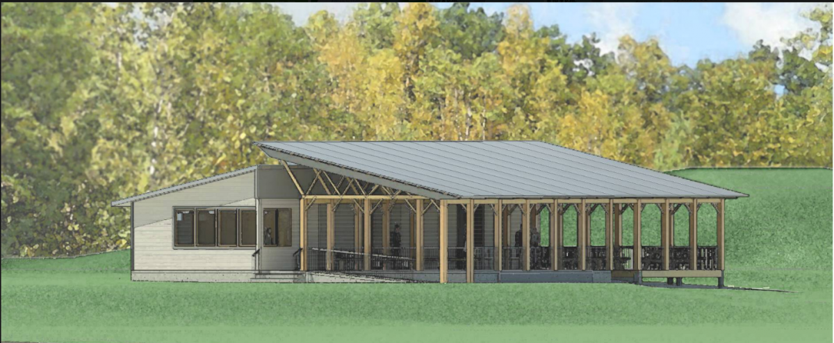 Digital rendering of new bath house with covered outdoor area