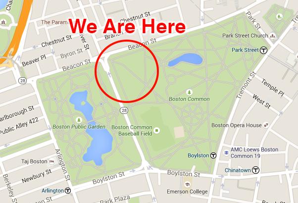 Location Of Event New England ADA Center - Boston common map