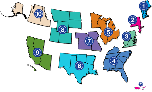map showing the 10 ADA center across the country