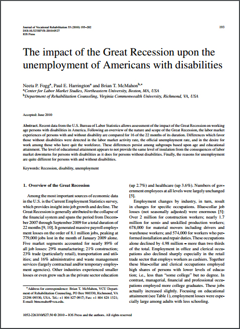 The impact of the great Recession upon the unemployement of American with disabilities