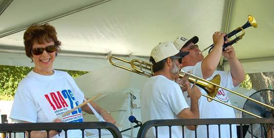New England ADA Director Oce Harrison playing with Hot Tamale Brass Band