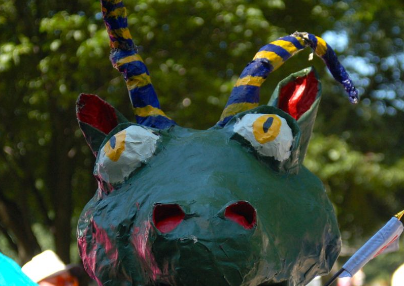 The front of the dragon float in the parade