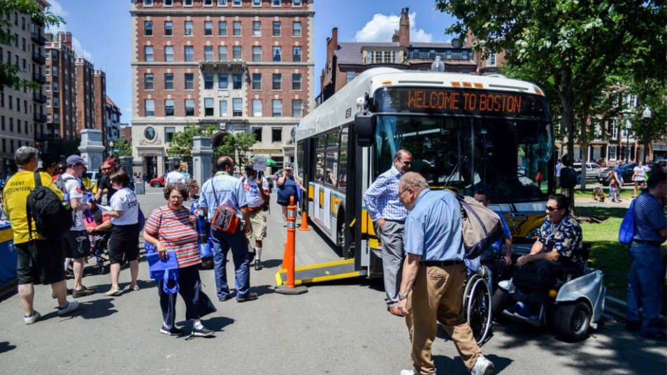 MBTA cooling bus for relief on the hot sunny day