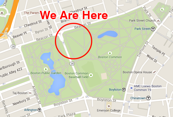 Map of Boston Common with event site circled