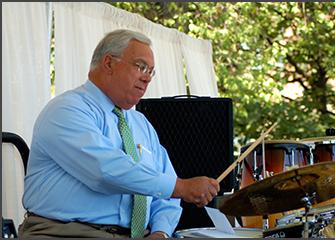 Mayor Menino playing drums